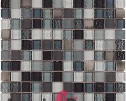 mosaico in vetro e acciaio inox MIRROR GREY dune 1