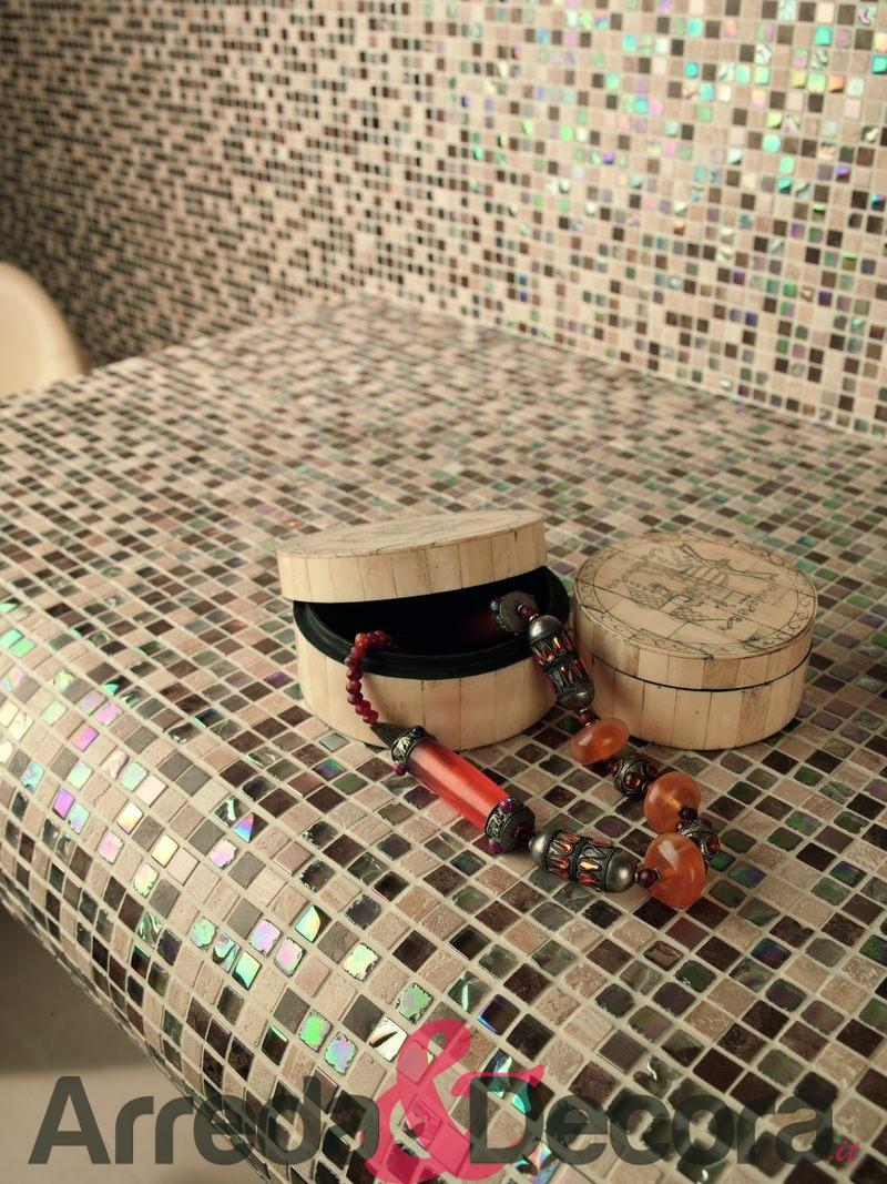 Mosaico mix vetro pietra acciaio mod. Jaipur