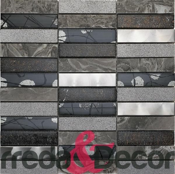 Mosaico in pietra,vetro e acciaio serie artistica mod. grigio