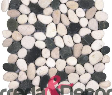Ciottoli su rete bianchi e neri gami42 for Ciottoli bianchi