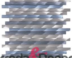 Mosaico con Listelli in Alluminio Spazzolato  mod. Argento:Blu MEMI07