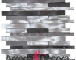 Mosaico con Listelli in Alluminio Spazzolato mod. Mix Argento MEMI31
