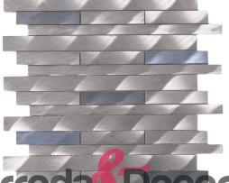Mosaico in Alluminio Spazzolato  mod. Argento:Blu MEMI04