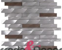 Mosaico in Alluminio Spazzolato  mod. Argento:Marrone MEMI05