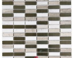 Mosaico in Marmo mod. Bianco e Bagie + Acciaio Argento MEMI25