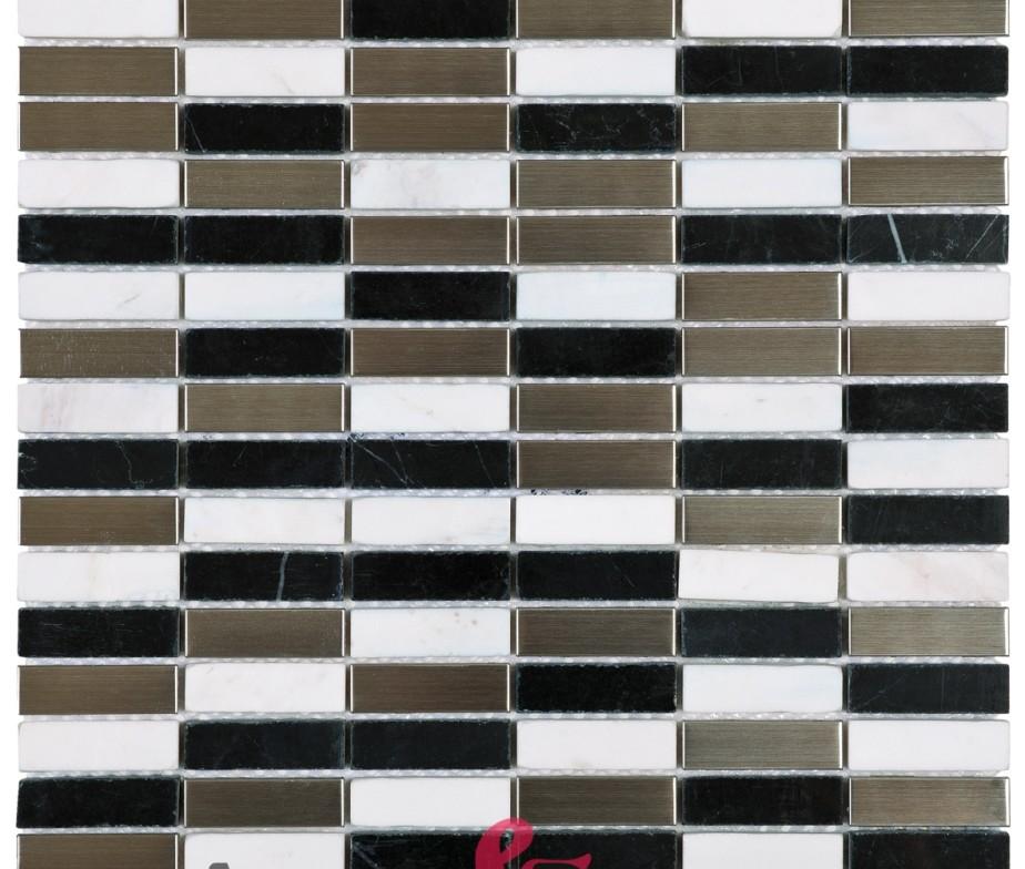 mosaico in marmo e acciaio mod bianco nero e argento memi24