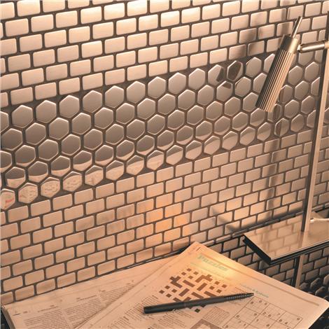 rivestimenti nido dape : Mosaico in Acciaio mod. Nido d?Ape Lucido EW-DRGPH