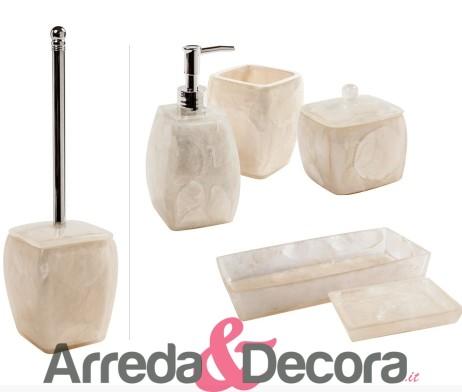 Set 6 accessori d 39 appoggio in resina e madreperla mod perla - Set accessori bagno da appoggio ...