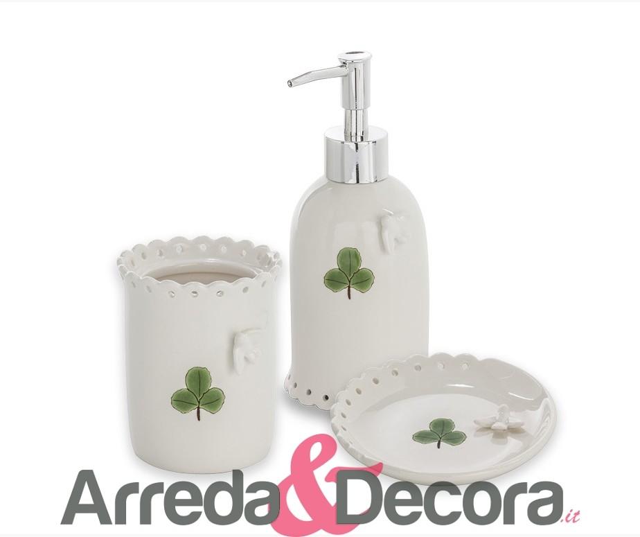 Set 3 Accessori d\'appoggio in ceramica bianca mod. Cip Cip
