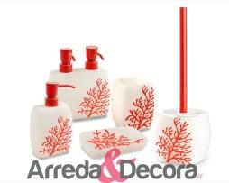 accessori bagno corallo rosso