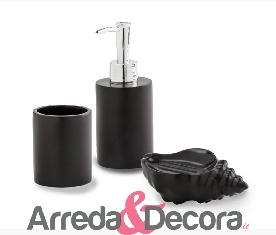 Set 3 accessori d 39 appoggio in resina satinata nera mod for Accessori bagno bianchi