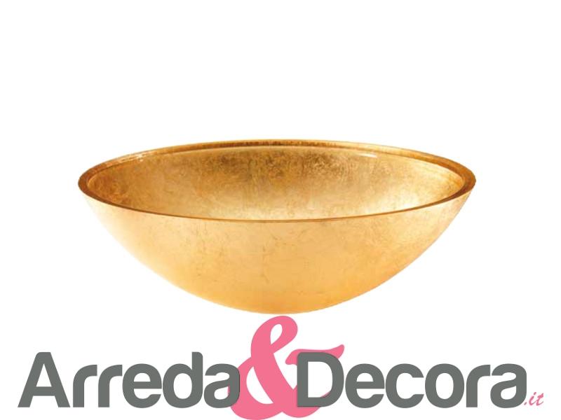 Lavabo in cristallo foglia oro magnum ovale da 51 cm for Lavabo da appoggio leroy merlin