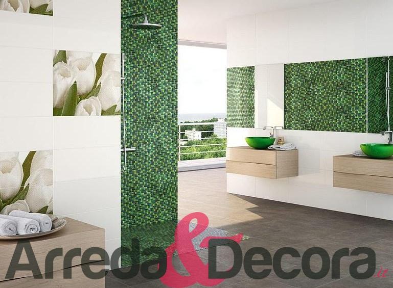 bagno con mosaico verde  canlic for ., Disegni interni