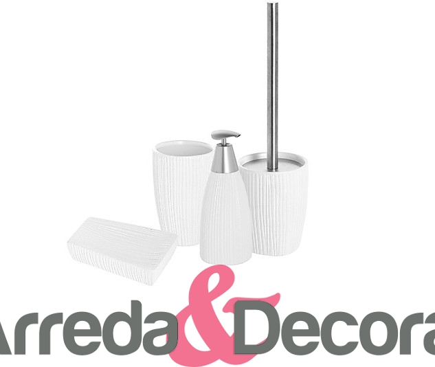Set 4 accessori in ceramica bianca e acciaio mod tiger white for Accessori bagno in ceramica