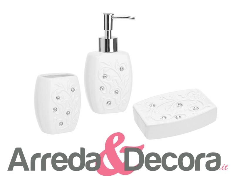 Set 3 accessori in ceramica e brillantinilux mod etinea for Accessori bagno ceramica