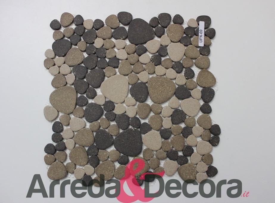 Mosaico a ciottoli in ceramica non smaltato antiscivolo for Colline o cabine marroni