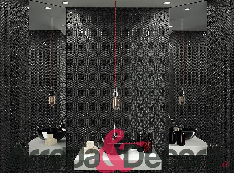 Mosaico in vetro esagonale nero lux - Mosaico vetro bagno ...