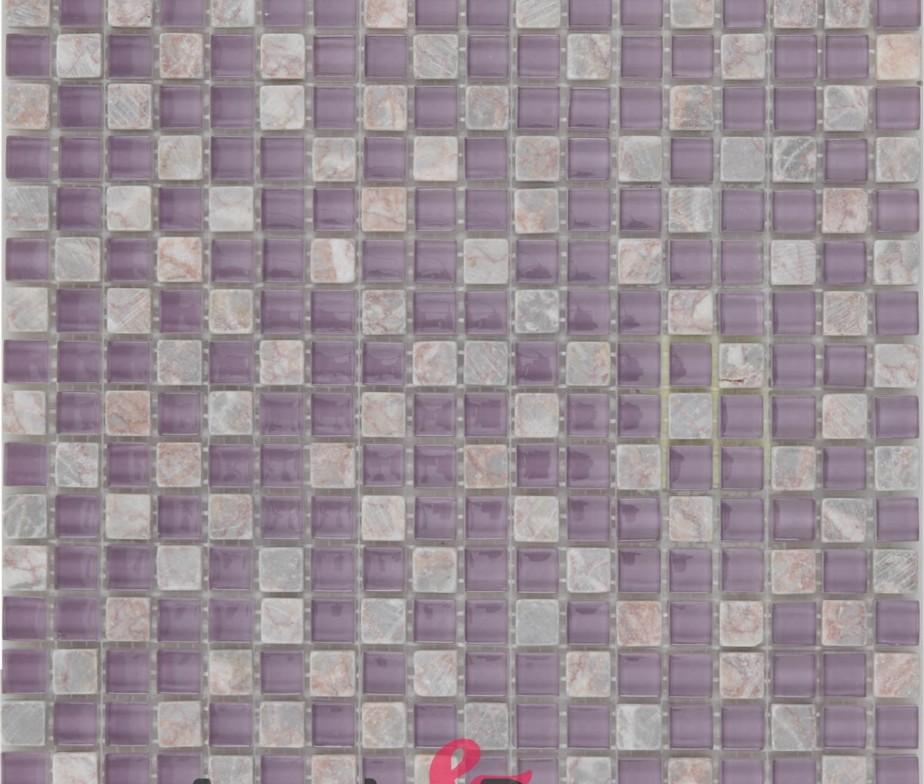 Mosaico in vetro e pietra di colore rosa