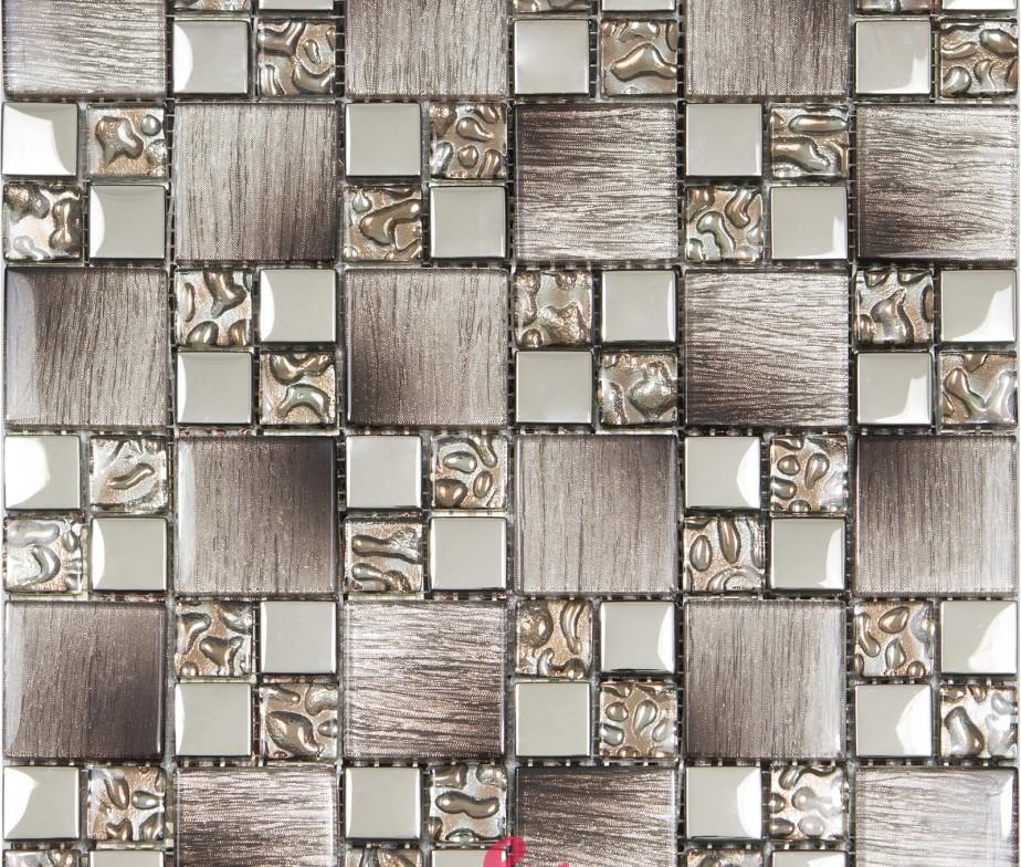 Mosaico in vetro effetto legno serie Tex marrone
