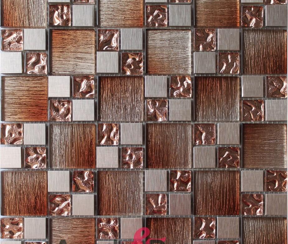 Mosaico in vetro effetto legno e acciaio serie Tex grigio
