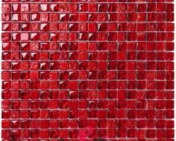 mosaico rosso foglia dorata