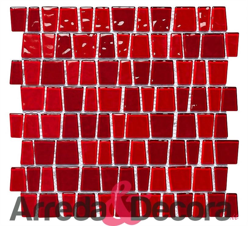 Mosaico in vetro rosso - Bagno mosaico rosso ...