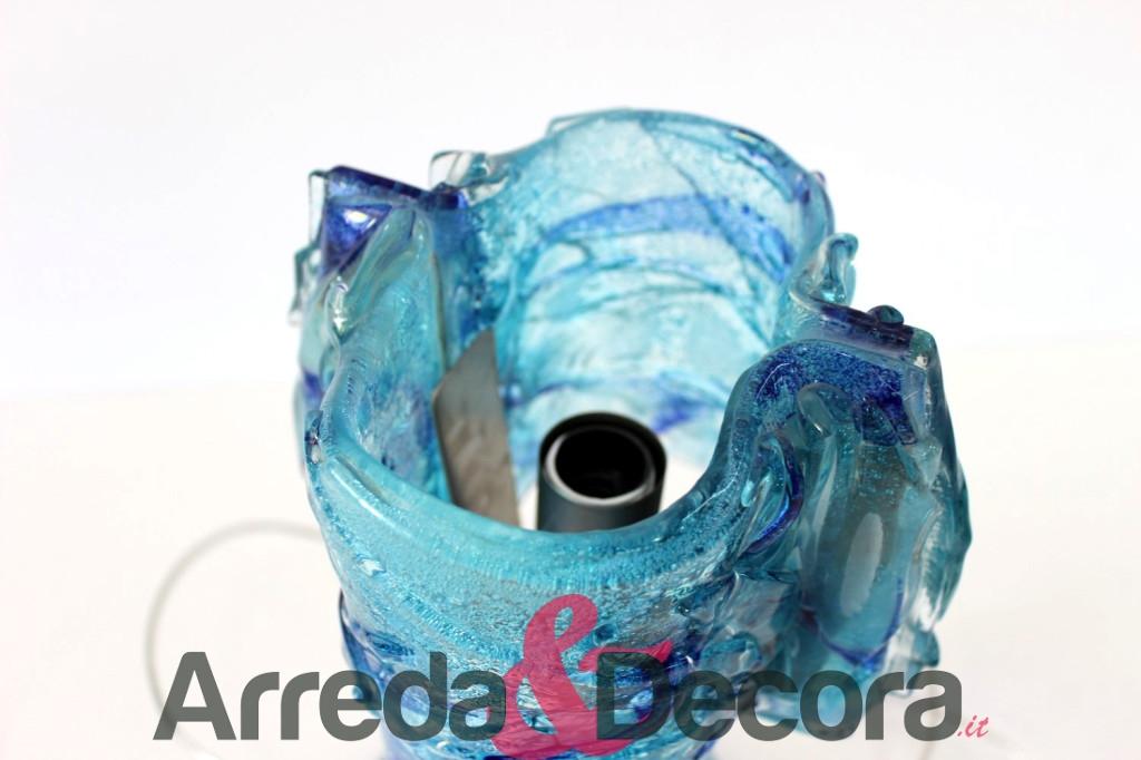 lampada blu mare in vetro 1