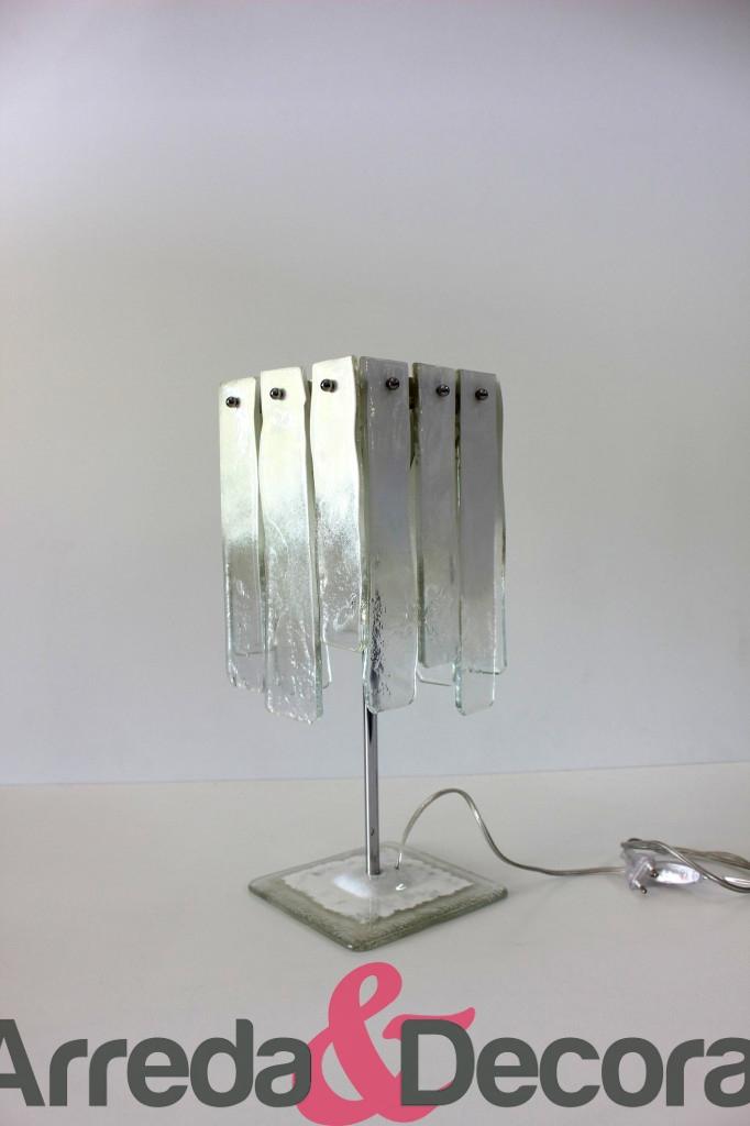 lampada in vetrofusione con pendenti bianca 1