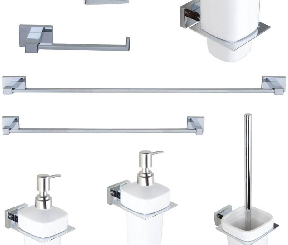 set completo da 8 accessori per bagno in ottone cromato modello miriam