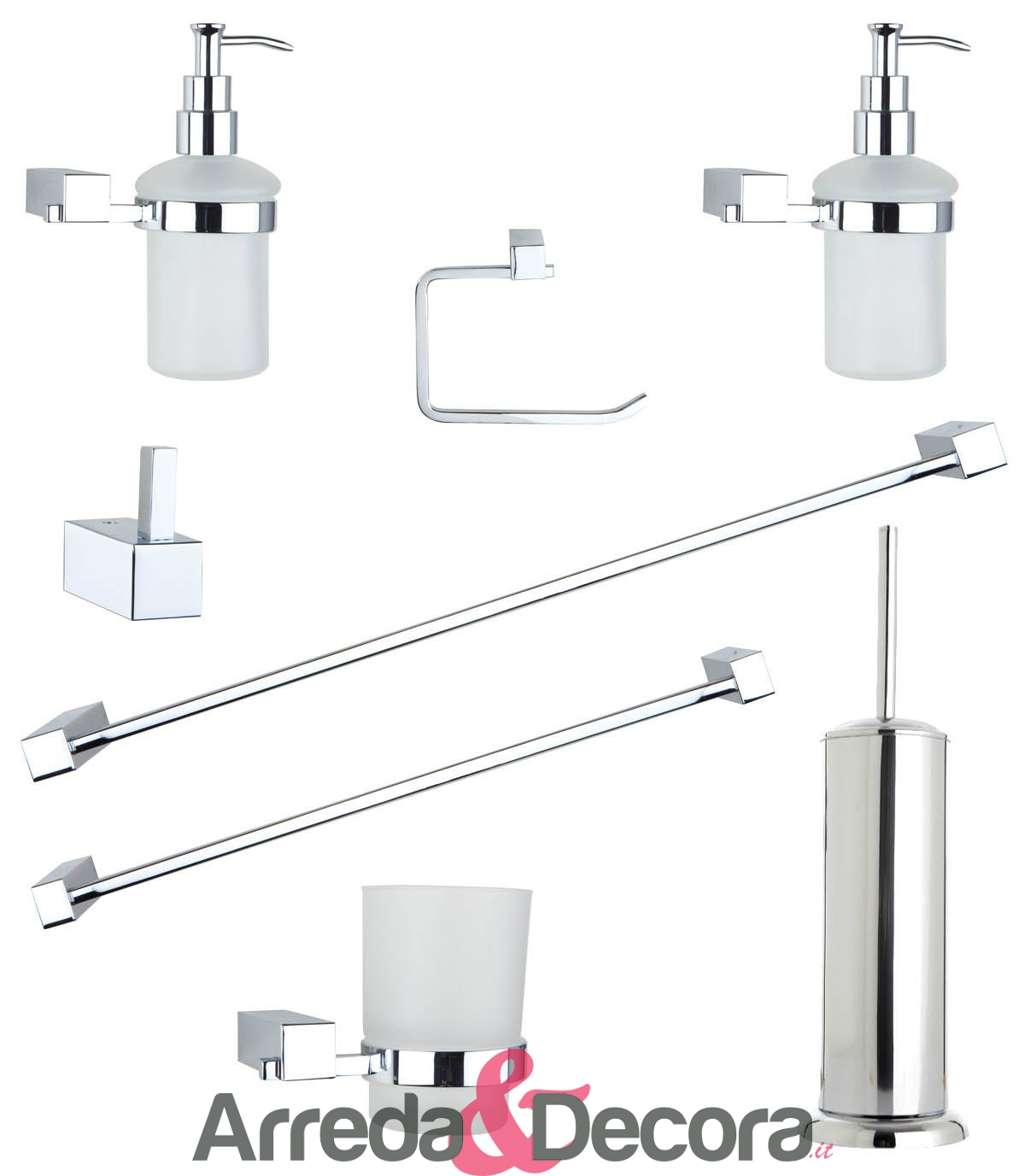 Set completo da 8 accessori per bagno in ottone cromato for Accessori per bagno