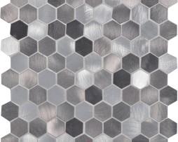 mosaico-esagonale-alluminio-spazzolato