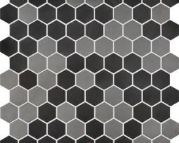 mosaico-esagonale-in-metallo-grigio-nero