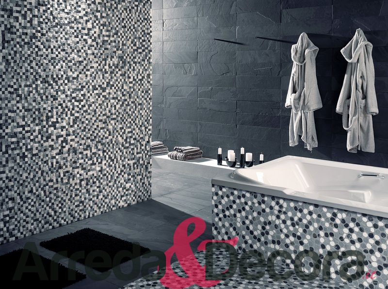 Bagno mosaico grigio fabulous immagine piccola cabina doccia con