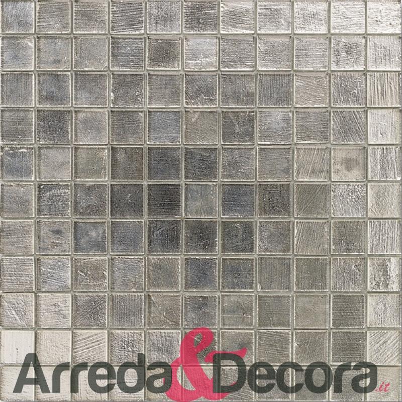 mosaico in vetro effetto argento mod. vitra platino dune 1