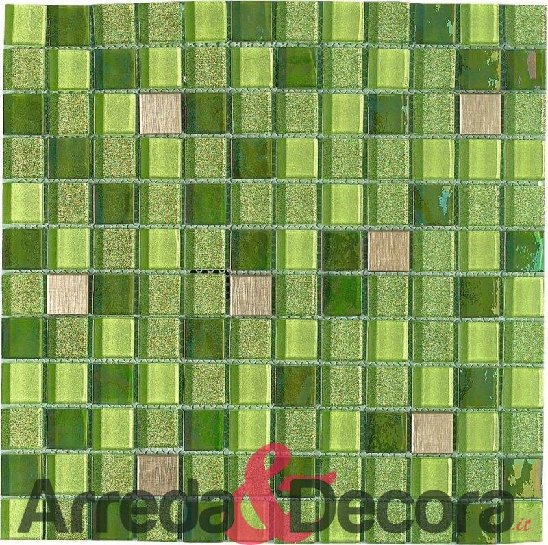 mosaico in vetro glitter e acciaio inox ESMERALDA dune 1