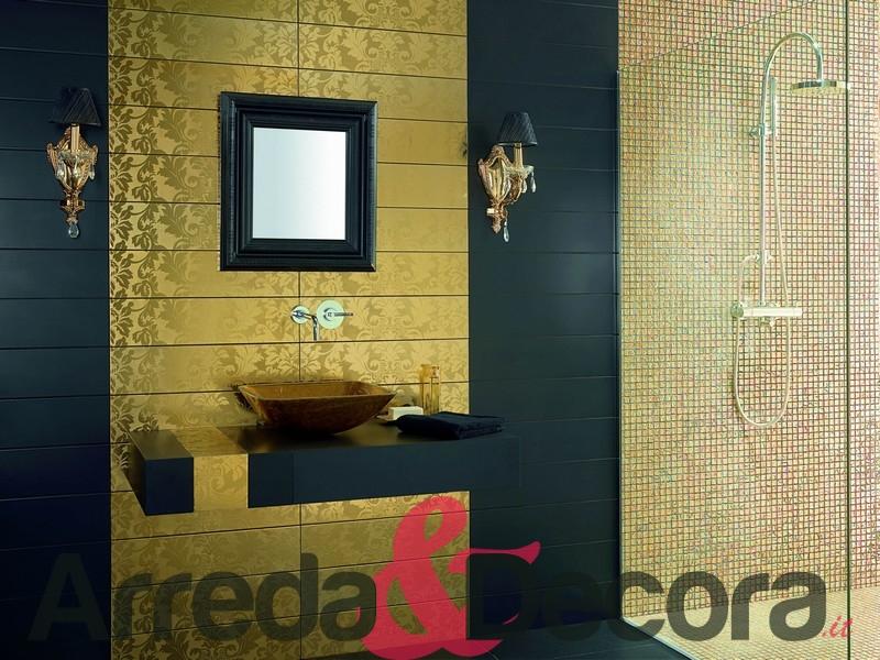 Bagno Legno E Mosaico : Mosaico in vetro effetto oro mod cayman champagne