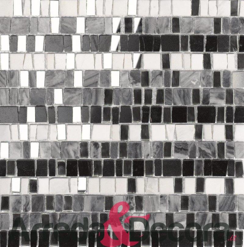 mosaico in vetro specchio e pietra mod. NINFA dune 1