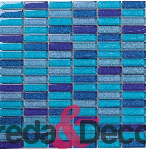 mosaico blu in vetro