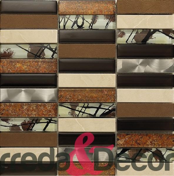 mosaico rettangolare in vetro acciaio pietra marrone
