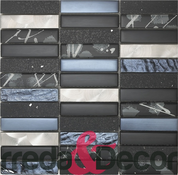 mosaico rettangolare in vetro acciaio pietra nero