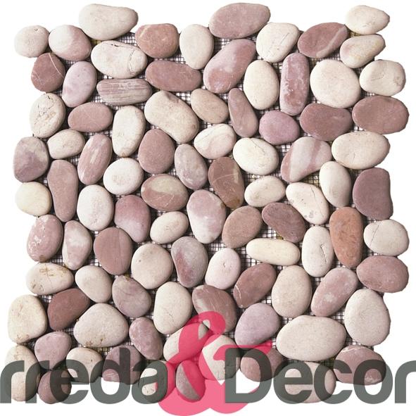 Ciottoli su rete bianchi con sfumature sul rosa gami02 for Ciottoli bianchi