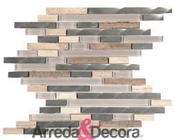 Mosaico con Listelli mod. Mix Marmo Beige, Alluminio Spazzolato e Vetro Beige MEMI27