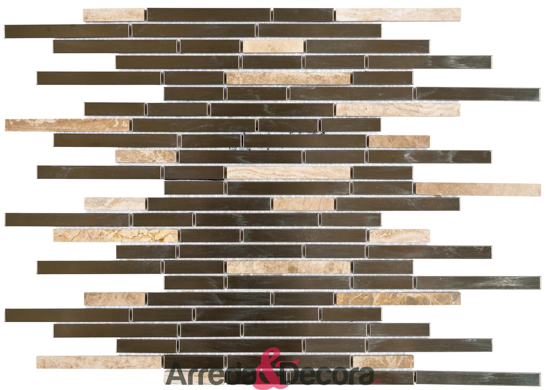Mosaico con Mini Listelli mod. Marmo Marrone e Acciaio Argento MEMI26