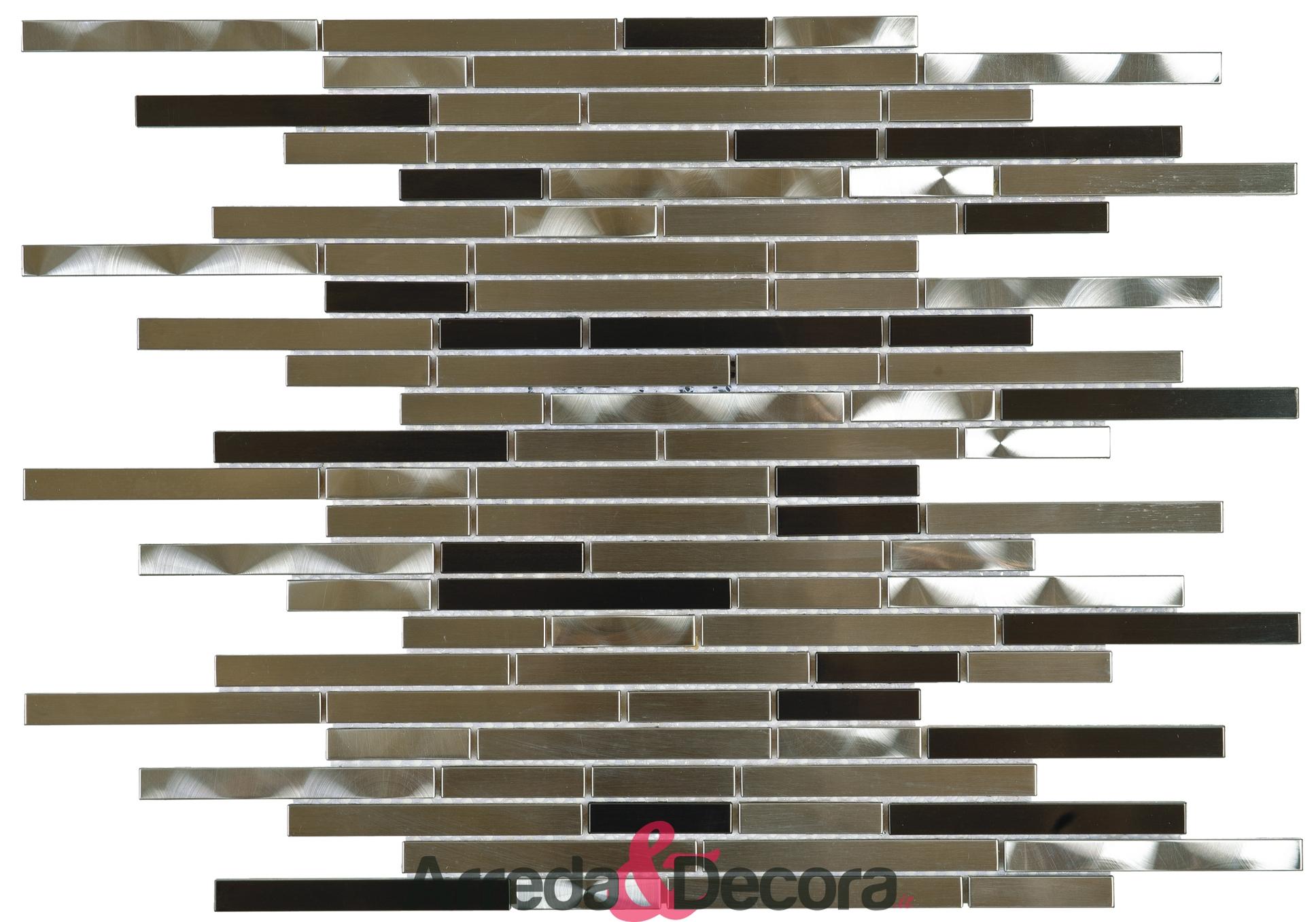 Mosaico con Mini Listelli mod. Mix Acciaio Spazzolato, Nero e Argento MEMI23