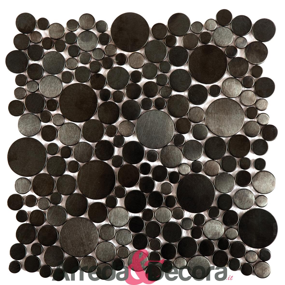 Mosaico in Acciaio mod. Ciottoli Rotondi Neri MENO06