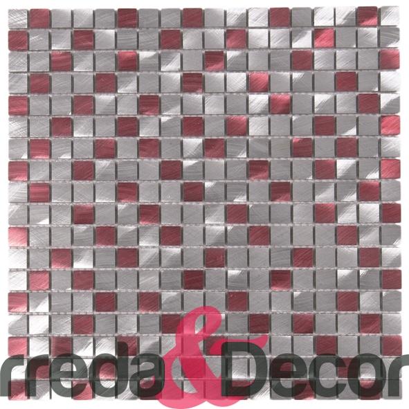 Mosaico in Alluminio mod. Argento:Rosso MEMI03