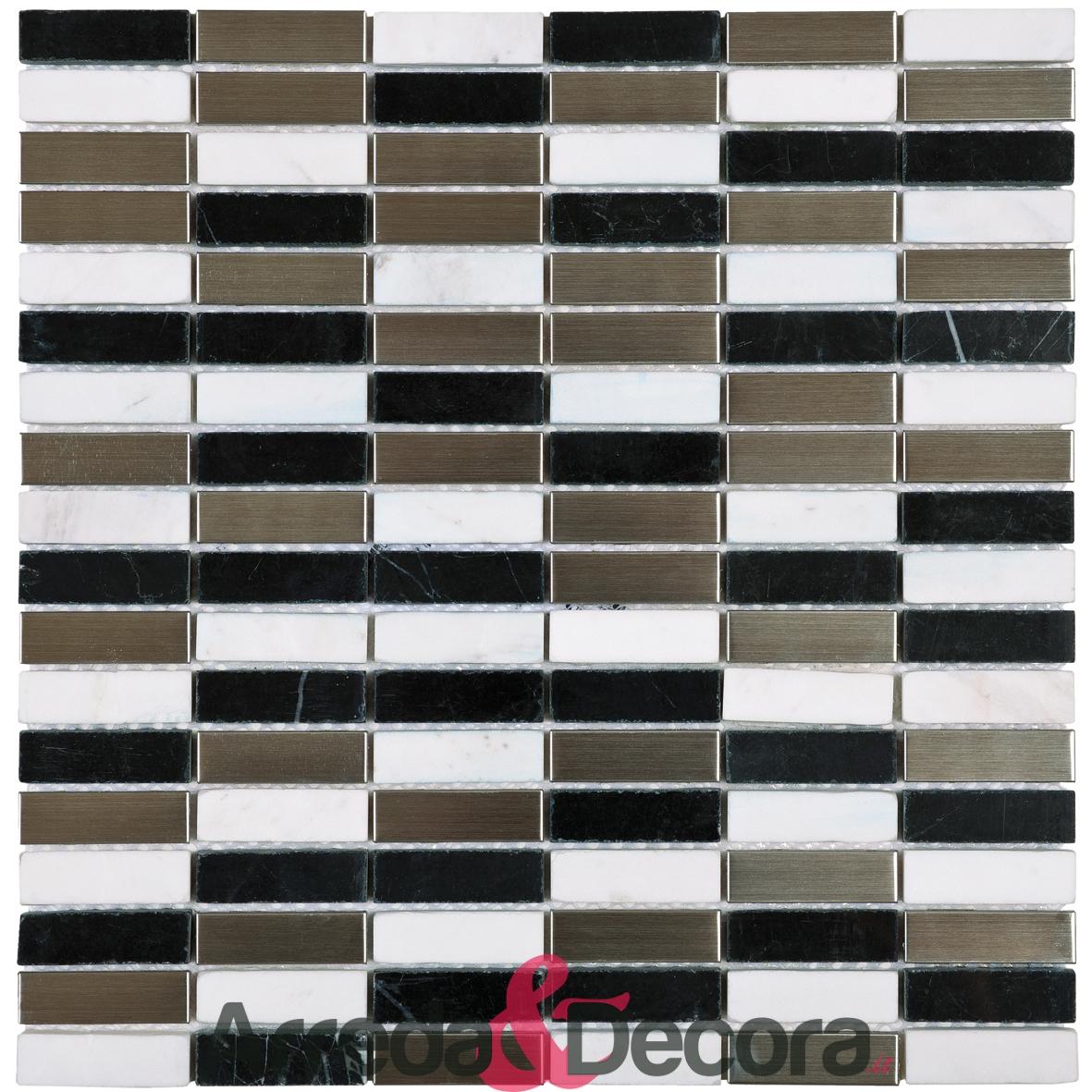 Mosaico in Marmo mod. Bianco e Nero + Acciaio Argento MEMI24