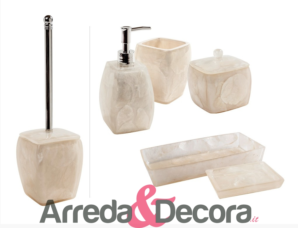 ACCESSORI BAGNO IN RESINA MADRE PERLA CIPI