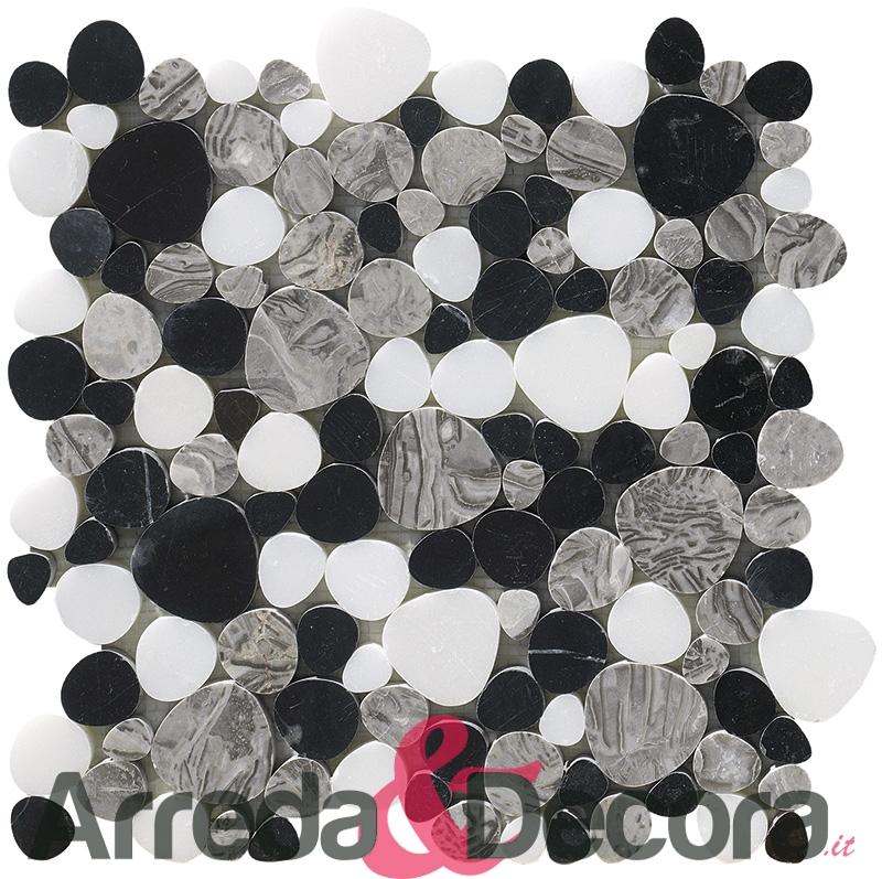 mosaico a ciottoli regolari in marmo a palladiana nero mix