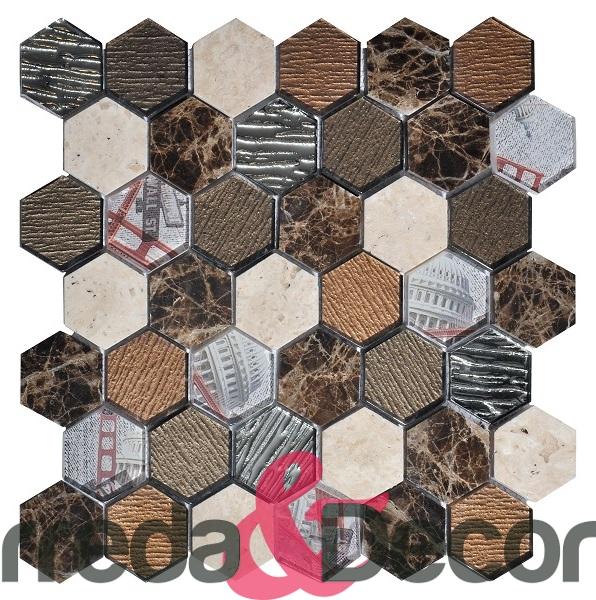 mosaico esagonale grande beige scuro